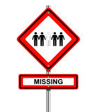 Missing on Road Sign Royalty Free Stock Photography
