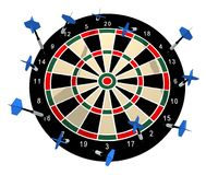 Missing Target. Illustration of a dart board with all the darts missing any target Stock Images