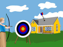 Missing the Target Improve Your Aim Avoid Failure. Man shot an arrow at a target but missed causing the arrow to strike the roof of a nearby house. Image Royalty Free Stock Images