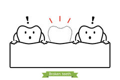 Missing tooth - cartoon vector outline style Royalty Free Stock Images