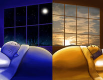 Missing You. Day And Night, Different Sides Of Wor Stock Image