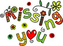 Missing You Doodle Text Expression Royalty Free Stock Photography