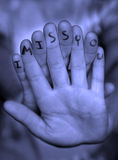 Missing You Finger Message Stock Images