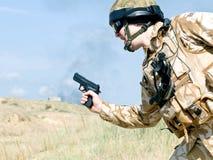 On mission. British Royal Commando on mission Royalty Free Stock Image