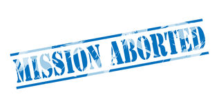 Mission aborted blue stamp. Isolated on white background Stock Images