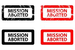 Mission aborted rubber stamp. Mission aborted - rubber stamp - vector - black and red royalty free illustration
