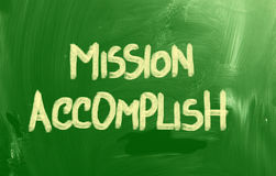 Mission Accomplish Concept. Concept Handwritten With Chalk On A Blackboard stock photography