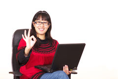 Mission accomplished. One's mission is accomplished and she is very happy with an OK hand pose royalty free stock photo