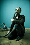 Mission accomplished. Homeboy blowing vacuum cleaner hose. Mission accomplished attitude stock image