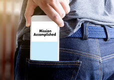 Mission accomplished Business to Goal Success Proud and big Dream stock photo