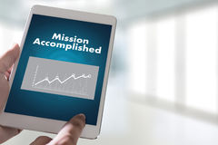 Mission accomplished Business to Goal Success Proud and big Dream stock images