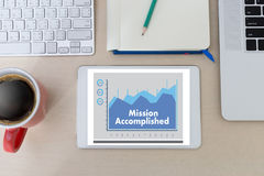 Mission accomplished Business to Goal Success Proud and big Dream royalty free stock photo