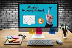 Mission accomplished Business to Goal Success Proud and big Dream royalty free stock photos