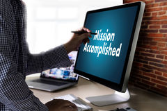 Mission accomplished Business to Goal Success Proud and big Dream royalty free stock image