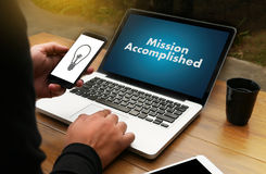 Mission accomplished Business to Goal Success Proud and big Dream stock photography