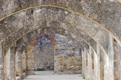 Mission Arches. Old stone arches in San Antonio Texas Mission Stock Photo