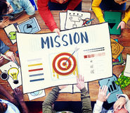 Mission Arrow Target Goals Business Dart Graphic Concept Stock Photos