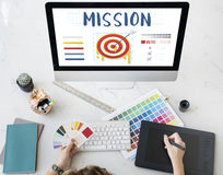 Mission Arrow Target Goals Business Dart Graphic Concept Stock Photography