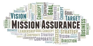 Mission Assurance word cloud. Wordcloud made with text only stock illustration