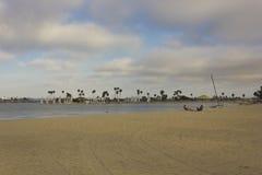 Mission Bay beach in San Diego. SAN DIEGO, USA - AUGUST 20 2013: Mission Bay beach in San Diego, with nobody around royalty free stock photo