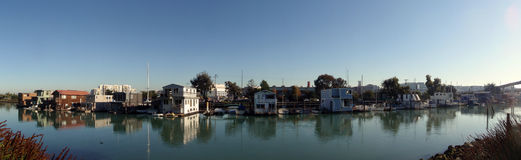 Mission Bay Creek House Boats Royalty Free Stock Photos