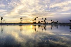 Mission Bay, San Diego, California. The sunrise over Sail bay in Mission Bay over the Pacific beach in San Diego, California in the United States of America. A stock photos