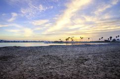 Mission Bay, San Diego, California. The sunrise over Sail bay in Mission Bay over the Pacific beach in San Diego, California in the United States of America. A royalty free stock photography