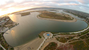 Mission Bay. Sunset at Mission Bay using drone Royalty Free Stock Photos