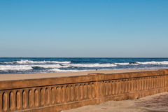 Mission Beach Boardwalk Seawall after 2016 Restoration. Mission Beach boardwalk seawall in San Diego, California after its 2016 restoration to its original look royalty free stock photography