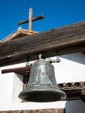 Mission bell, San Francisco Solano. Vintage bell and cross, Mission San Francisco Solano in Sonoma, California Stock Photos