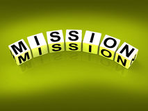 Mission Blocks Show Mission Strategies and Goals Royalty Free Stock Photo