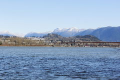Mission, British Columbia. Looking across the Fraser River to the small Fraser Valley community of Mission, British Columbia Stock Photo