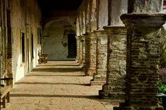 Mission building. An old hallway at the San Juan Capistrano mission in California Stock Photo