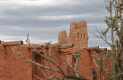 A Mission among the cactus, Abo Pueblo, New Mexico Royalty Free Stock Photo