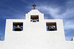 USA, New Mexico: Mission church/bell tower Royalty Free Stock Photo