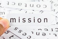 Mission closeup. Mission word on paper picked by finger to see close Royalty Free Stock Images
