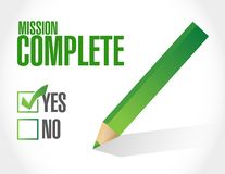 Mission complete approval sign concept. Illustration design graphic over white Stock Photo