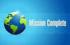 Mission complete binary globe sign concept. Illustration design graphic over white Stock Image
