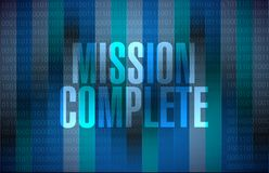 Mission complete binary sign concept. Illustration design graphic over white Stock Images