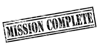 Mission complete black stamp. Isolated on white background Stock Photography