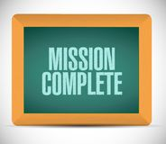 Mission complete chalkboard sign concept. Illustration design graphic over white Stock Photos