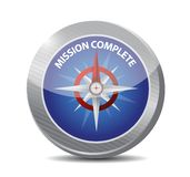 Mission complete compass sign concept. Illustration design graphic over white Royalty Free Stock Images