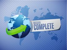 Mission complete global sign concept. Illustration design graphic over white Royalty Free Stock Images
