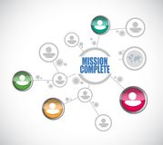 Mission complete people diagram sign concept. Illustration design graphic over white Stock Image