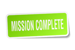 Mission complete square sticker Stock Images