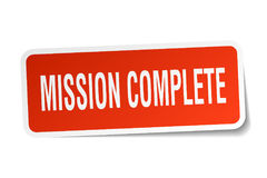 Mission complete sticker. Mission complete square sticker isolated on white background Stock Photography