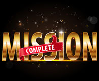 Mission complete text with thumbs up design. Created Mission complete text with thumbs up design Royalty Free Stock Image