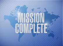 Mission complete world map sign concept. Illustration design graphic over white Stock Images