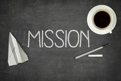 Mission concept on black blackboard Stock Photos