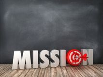 MISSION 3D Word with Target on Chalkboard Background. High Quality 3D Rendering vector illustration